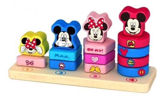 Drevená vkladačka Disney Mickey a Minnie - počítanie, 23 x13 x 7,5 cm