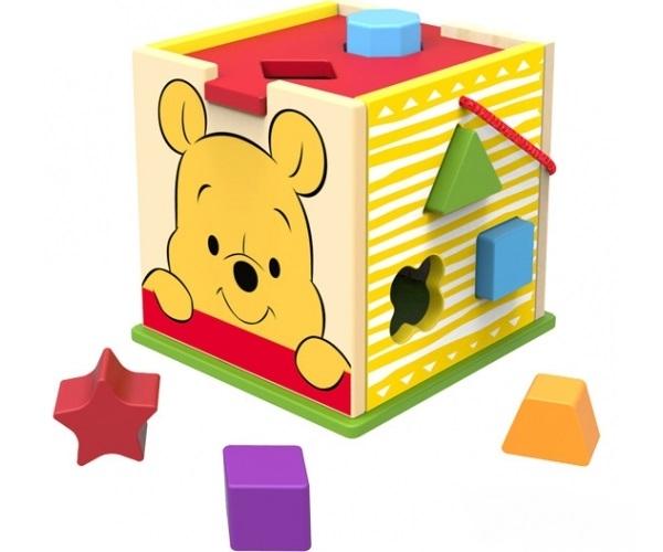 Drevená edukačná kocka Disney vkladacie - Medvedík Pú