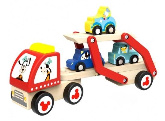 Drevený ťahač na prepravu autíčok, 29x12x7 cm
