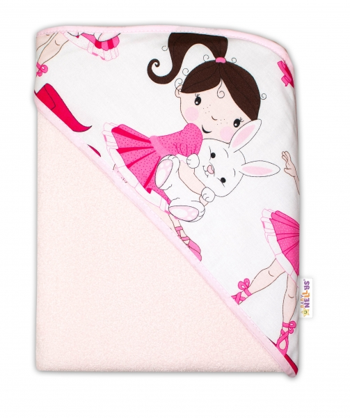 Detská termoosuška s kapucňou Baby Nellys, 100 x 100 cm, Princess - růžová