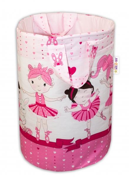 Bavlnený kôš na hračky Baby Nellys, Princess - ružová