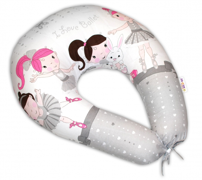 Bavlnený dojčiaci vankúš Baby Nellys, Princess sivý