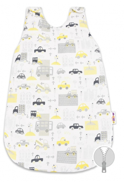 Bavlnený spací vak Baby Nellys, Mestečko, 74 cm - sivý