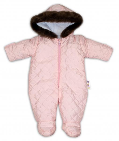 Kombinéza s kapucňou a kožušinkou Baby Nellys ®prošívaná - sv. ružová, veľ. 62-62 (2-3m)