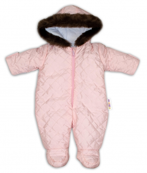 Kombinéza s kapucňou a kožušinkou Baby Nellys ®prošívaná - sv. ružová, veľ. 68-68 (4-6m)