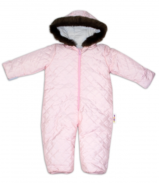 Kombinéza s kapucňou a kožušinkou Baby Nellys ®prošívaná, bez šlapiek, sv. ružová, veľ.92-92 (18-24m)