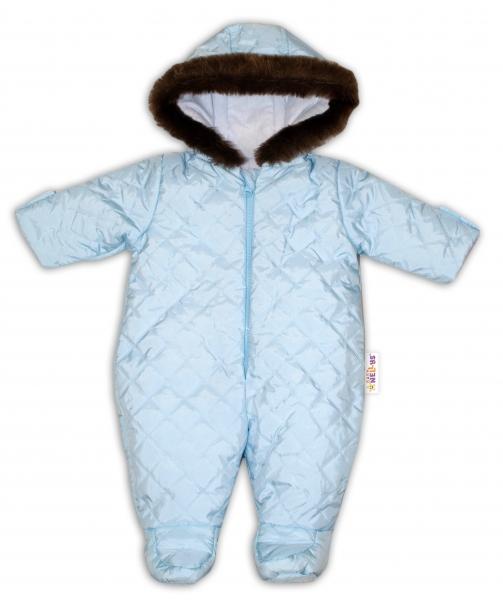 Kombinéza s kapucňou a kožušinkou Baby Nellys ®prošívaná - sv. modrá, veľ. 68-68 (4-6m)