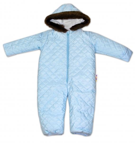 Kombinéza s kapucňou a kožušinkou Baby Nellys ®prošívaná, bez šlapie - sv. modrá, veľ. 80-80 (9-12m)