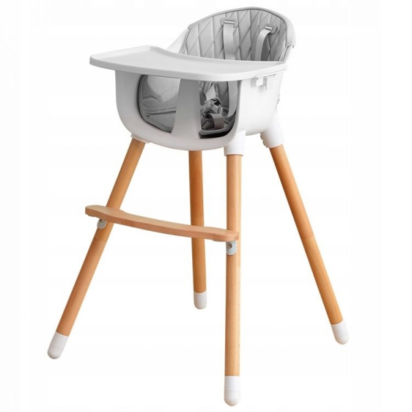 Drevená jedálenská stolička 2v1 Eco Toys - šedá