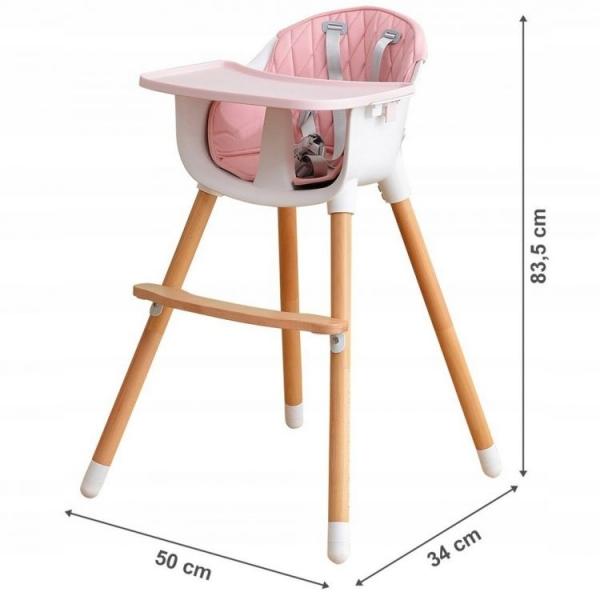 Drevená jedálenská stolička 2v1 Eco Toys - ružová