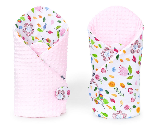 Mamo Tato Obojstranná zavinovačka Minky Baby - Lúka ružová/sv. ružová