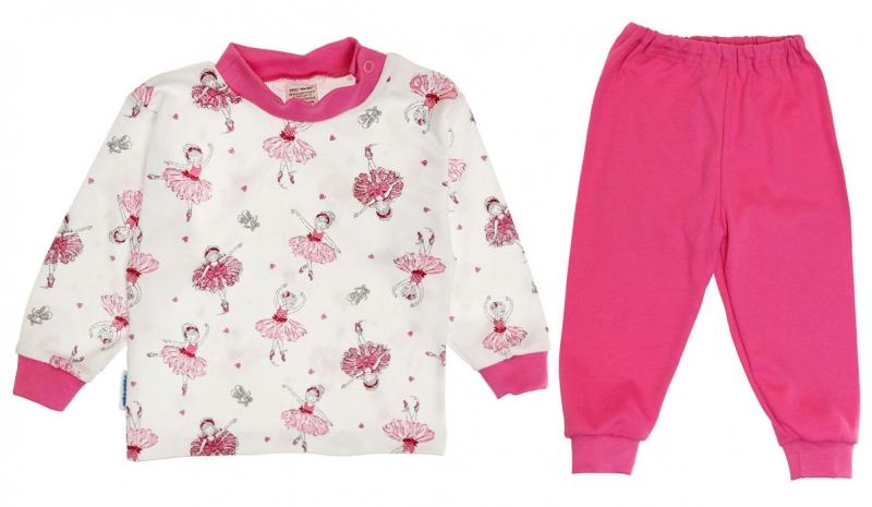 Baby Bavlnené pyžamo Baletka - biela / ružová, vel. 116