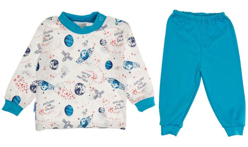 Baby Bavlnené pyžamo Vesmír - biela/modrá