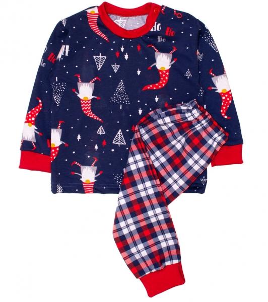 Baby Bavlnené pyžamo Vianočný škriatok - tm. modré / červená