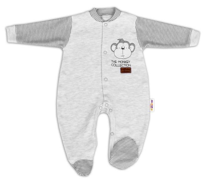 Baby Nellys Bavlnený overal Monkey - sv. sivý melírek