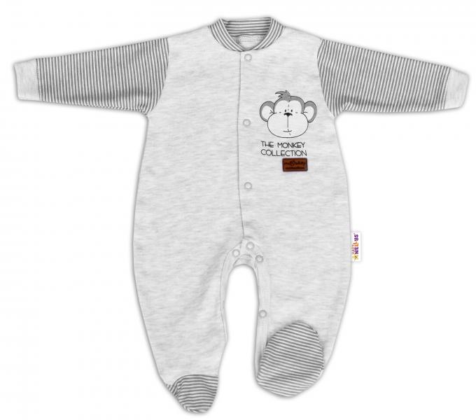 Baby Nellys Bavlnený overal Monkey - sv. sivý melírek, veľ. 68-68 (4-6m)