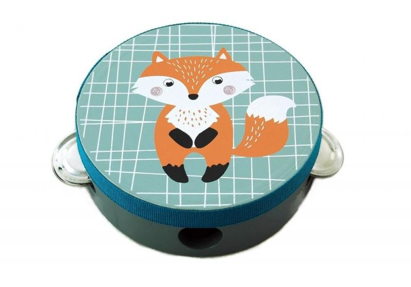 Adam Toys Detská tamburína s motívom líšky - modrá