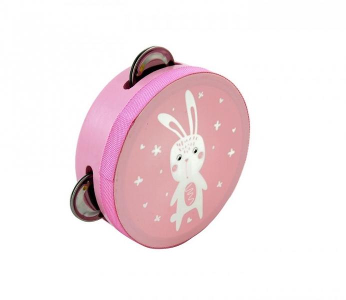 Adam Toys Detská tamburína s motívom zajačika - ružová