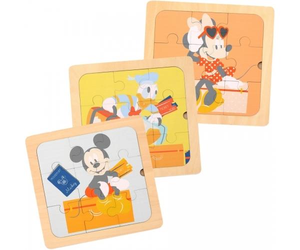 Drevené Disney puzzle 3v1 - Mickey a priatelia, 22 x 22 cm.