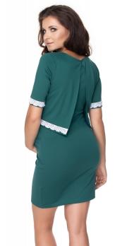 Tehotenské, dojčiace šaty, krátky rukáv - zelené