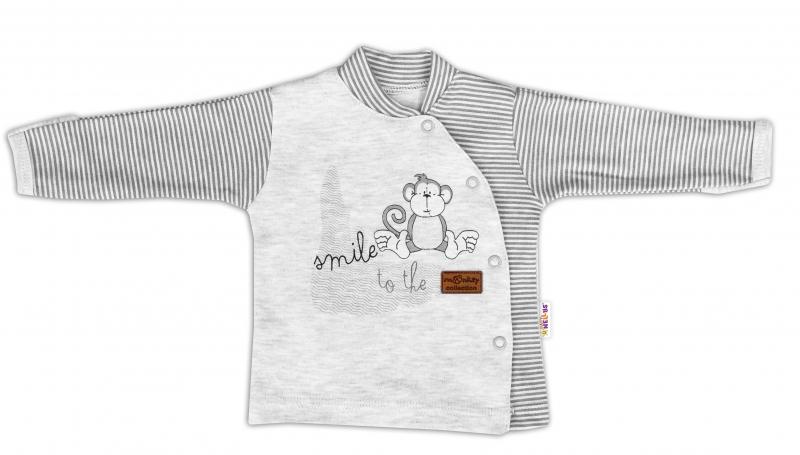 Baby Nellys Bavlnená košieľka Monkey zapínanie bokom - sv. šedý melírek-56 (1-2m)
