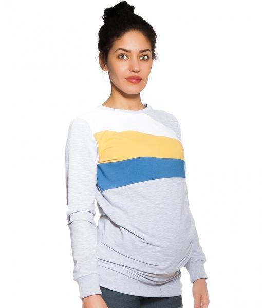 Tehotenské, dojčiace tričko/mikina Delana, dl. rukáv, výrazné pruhy