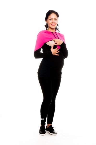 Tehotenské, dojčiace tričko/mikina s kapucňou, čierno/ružová