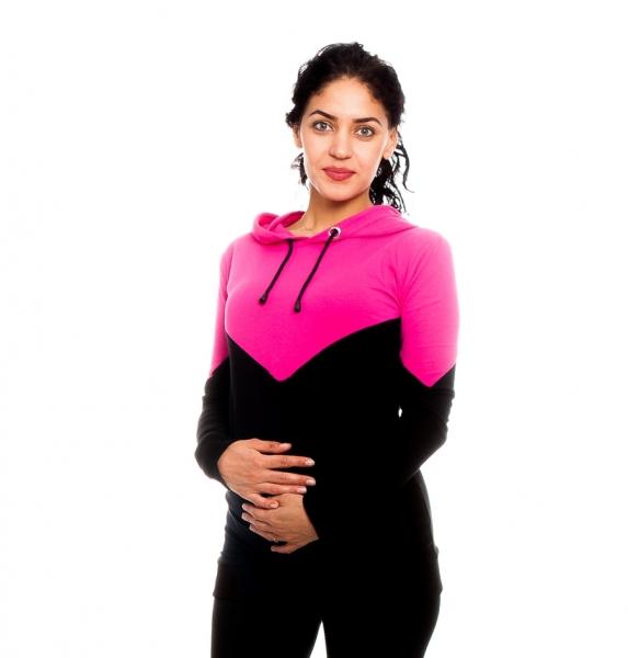 Be MaaMaa Tehotenské, dojčiace triko/mikina s kapucňou, čierno/růžová, veľ. S-#Velikosti těh. moda;S (36)