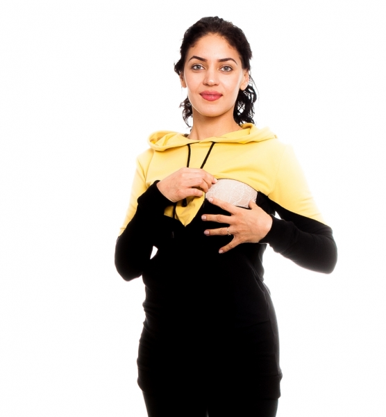 Tehotenské, dojčiace tričko/mikina s kapucňou, čierno/žltý