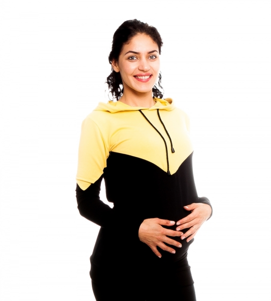 Be MaaMaa Tehotenské, dojčiace triko/mikina s kapucňou, čierno/žltý, veľ. M