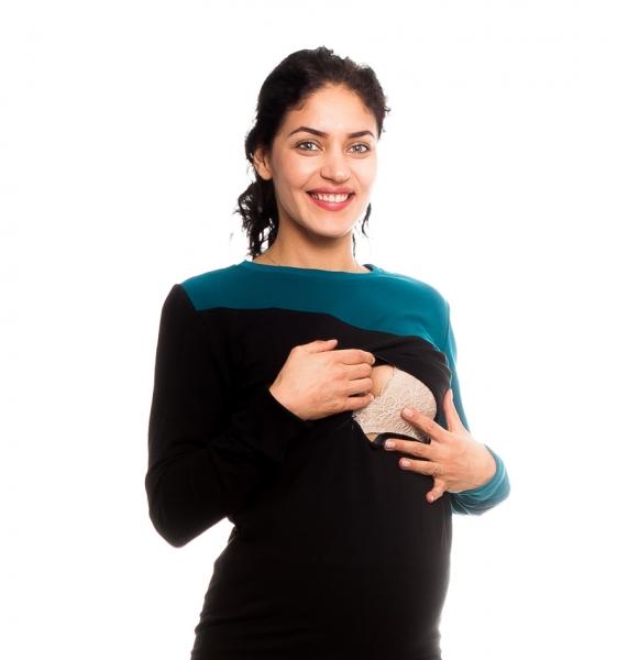 Tehotenské, dojčiace tričko/mikina Floriana,  čierno/modrá