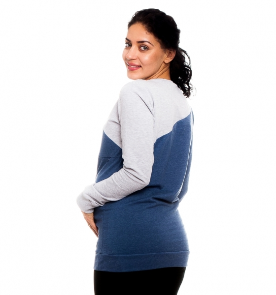 Tehotenské, dojčiace tričko Jaklyn - modro/šedé veľ. M