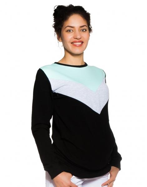 Tehotenské, dojčiace tričko/mikina Karen, čierna-šedo / mätové pruhy