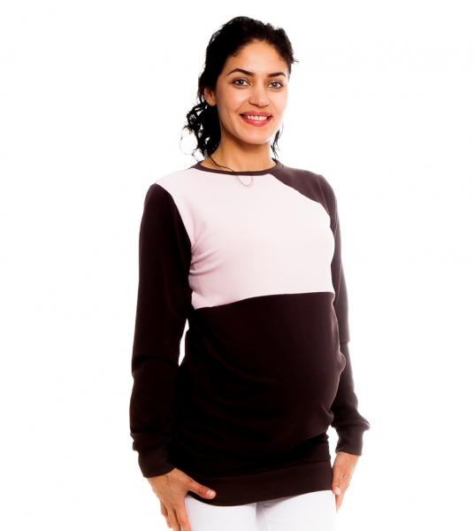 Tehotenské, dojčiace tričko/mikina Laverna, hnedá/sv. ružová