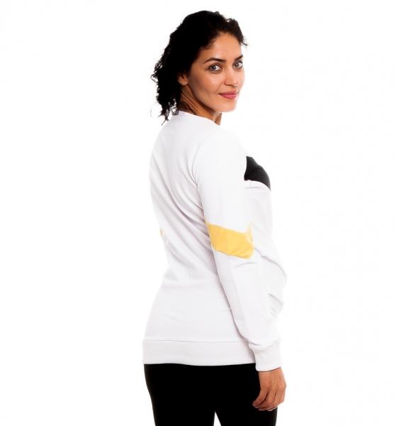 Tehotenské, dojčiace tričko/mikina Madie, biela / čierno-žlté pruhy