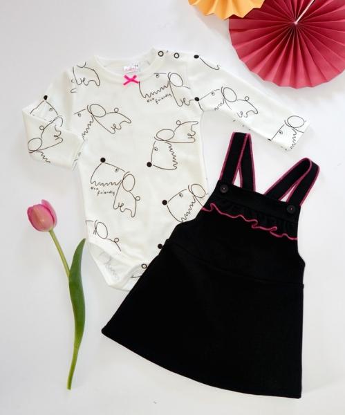 K-Baby Sada/Dojčenské body + šatičky/sukňa na traky, veľ. 68-68 (4-6m)