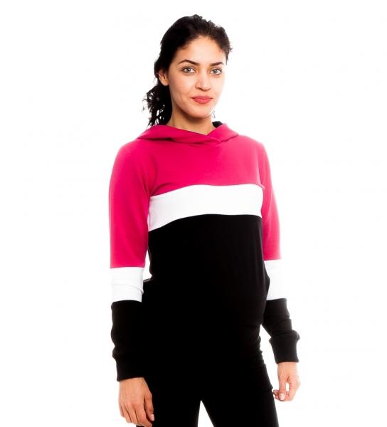 Tehotenské, dojčiace tričko/mikina Gladys, čierno-bielo-ružová