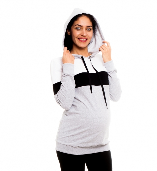 Be Maamaa Tehotenské, dojčiace tričko/mikina Gladys, šedo-čierno-biela, veľ. XL