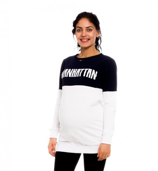 Tehotenské, dojčiace tričko/mikina Manhattan, bielo-granátová