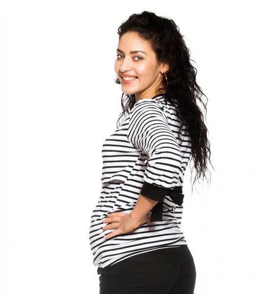 Tehotenské, dojčiace tričko Belora, bielo-čierne