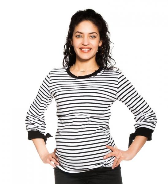 Be Maamaa Tehotenské, dojčiace tričko Belora, bielo-čierne, veľ. L-L (40)