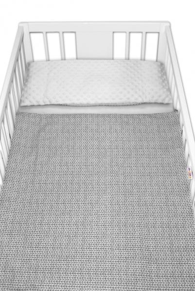 2-dielne bavlnené obliečky minky Baby Nellys, Pletený vrkoč - sivý, drobný vzor, 135x100cm
