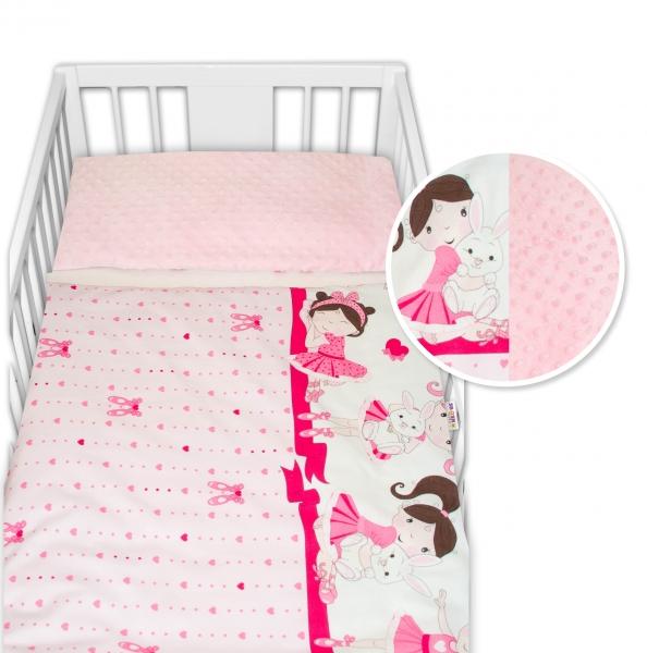 2-dielne bavlnené obliečky s Minky Baby Nellys - Princess, ružová /ružová