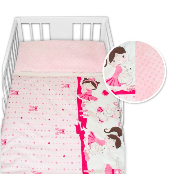 2-dielne bavlnené obliečky s Minky Baby Nellys - Princess, ružová /ružová, 135 x 100 cm