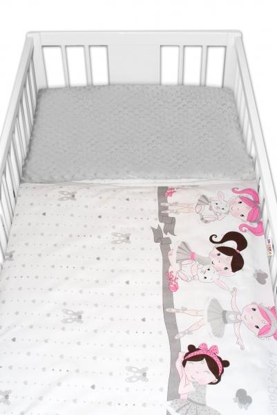 2-dielne bavlnené obliečky s Minky Baby Nellys - Princess, sivá/sivá