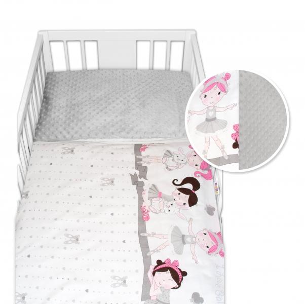 2-dielne bavlnené obliečky s Minky Baby Nellys - Princess, sivá/sivá, 135 x 100 cm