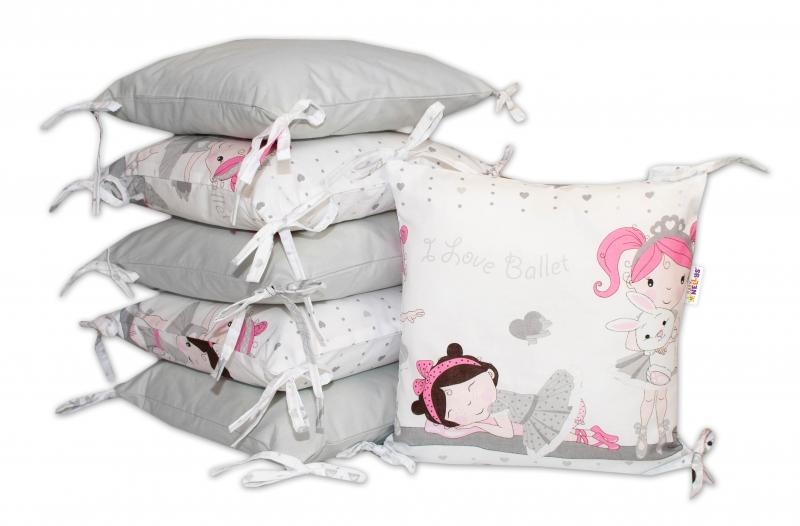 Bavlnený vankúšikový mantinel Baby Nellys Princess - sivý