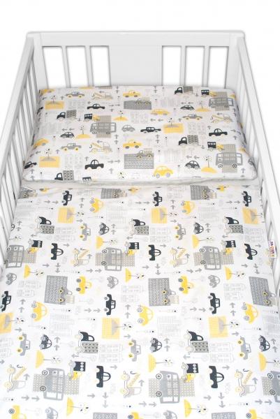 2-dielne bavlnené obliečky s Minky Baby Nellys - Mestečko, sivá/sivá, 135 x 100 cm