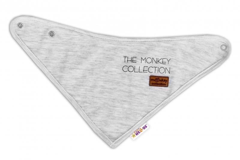 Detský bavlnený šatku na krk Baby Nellys, Monkey - sv.šedá melírek