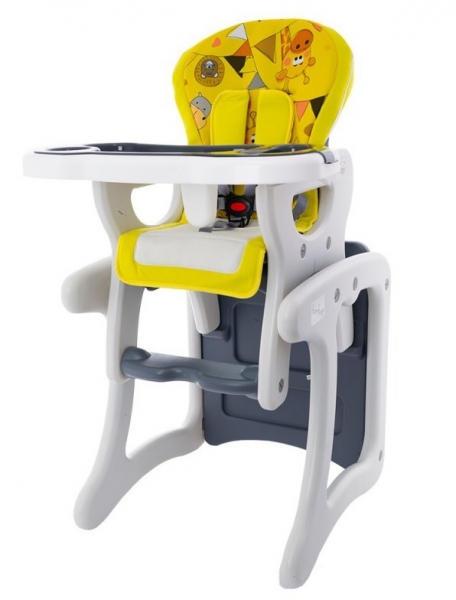 Euro Baby Jedálenský stolček 2v1 - ZOO žlté